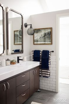 Perfect for your little guy... white subway tile + gray wood plank floor | Kristin Conrad Designs