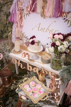 Cake & sweet table from a Burgundy, Blush & Gold Boho Baby Shower on Kara's Party Ideas | KarasPartyIdeas.com (11)