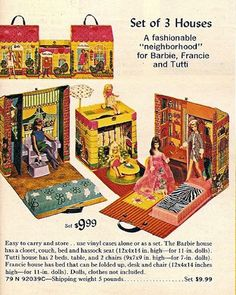 1961 – Present ~ Barbie, Family and Friends STRUCTURES – Houses, Furniture and Shops! 1962 Barbie's First Dreamhouse™. * 2017 Barbie's® Dream House® Reproduction) with Barb… Barbie I, Vintage Barbie Dolls, Barbie House, Vintage Toys, Sweet Memories, Childhood Memories, Growing Up Girl, Barbie Family, Used Vinyl