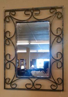 BLACK WROUGHT IRON MIRROR Wrought Iron Furniture, Wrought Iron Doors, Outdoor Mirror, Wrought Iron Gates, Mirror, Metal Mirror, Foyer Design, Wrought Iron Mirror, Metal Furniture