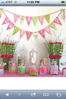 Kids party - candy table- love the gerbera arrangements & bunting flags with words