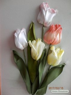 Wonderful Ribbon Embroidery Flowers by Hand Ideas. Enchanting Ribbon Embroidery Flowers by Hand Ideas. Ribbon Embroidery Tutorial, Embroidery Patterns Free, Hand Embroidery Stitches, Silk Ribbon Embroidery, Embroidery For Beginners, Hand Embroidery Designs, Embroidery Kits, Embroidery Supplies, Embroidery Techniques