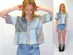 Vintage 90s Pale Blue Patchwork Rayon Silk Floral Crop Top Boho Festival Artsy Cropped Blouse Button Front Babydoll Belly Shirt by BlueFridayVintage