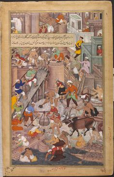 This painting, the right half of a double-page composition (with IS.2:46-1896) illustrating the Akbarnama (Book of Akbar), depicts the construction of the fort at Agra, which was completed for the Mughal emperor Akbar (r.1556–1605) in 1566. The overall composition was by the court artist Miskina, with Sarwan responsible for painting the details.