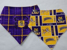 set of 2 lsu tigers bandana-style drool bibs **** bibs for boys **** lsu tigers baby bibs by SnazzyBoyClothing on Etsy