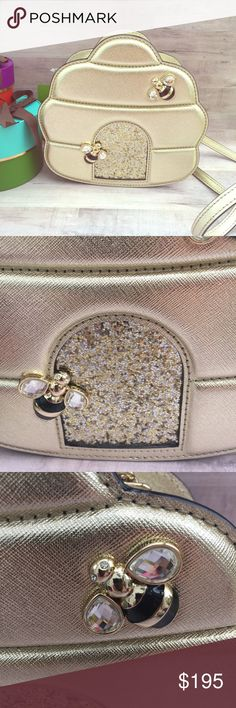 KATE SPADE GOLD BEEHIVE cross body bag SHOW YOUR QUEEN BEE STATUS!! Super adorable bag! Jeweled bees on gold hive w/glitter door! Just what you would expect from Kate Spade! kate spade Bags Crossbody Bags