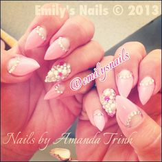 Pointy, stiletto nails with rhinestones and pearls!