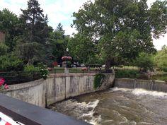 The river runs through Chagrin Falls, Ohio