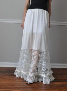 Long Tiered Ivory Lace Steampunk Gothic Petticoat Slip,Slip Extender, Wedding, Bridesmaid  XS -S-M-L-XL-XXL