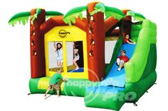 JUNGLE CLIMB & SLIDE BOUNCY - Be Tarzan for a day! This is one of the bigger bouncy castles we have, designed with a jungle theme. Comes with a jumping area room and a fun climbing wall which will lead to a platform of a 3m long slide. Other than that, a basketball hoop is also included to add even more fun. The multiple features make this jumping castle another popular choice! Inflated size at 385cm (L) x 350cm (W) x 275cm (H). Visit our website - www.playful-elves.com.sg - for more…