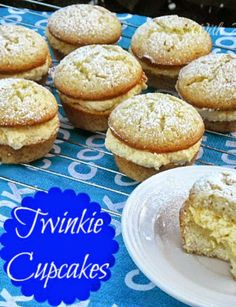 How to make your own Twinkies - but in cupcake form ~ feather light with the creamiest filling         #Twinkies #Cupcakes