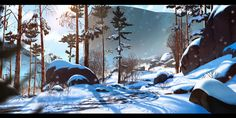 Henrik Evensen - Rocky Road on Behance Landscape Concept, Fantasy Landscape, Landscape Art, Landscape Paintings, Environment Painting, Environment Concept Art, Environment Design, Bg Design, Cover Design