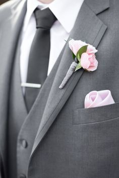Wedding Suit grey groom suit with a black tie and a pink boutonniere Grey Suit Wedding, Wedding Groom, Purple Wedding, Wedding Flowers, Grey Suit Prom, Blush And Grey Wedding, Wedding Dresses, Summer Wedding, Gray Groomsmen Suits