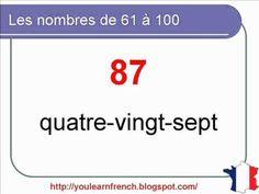 French Lesson 10 - Numbers from 0 to 100 (part 3) Les nombres de 61 à 100 - Numeros en frances