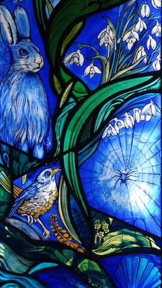 """Window commissioned 2013 made by Jude Tarrant of Sunrise Stained Glass Ltd, Hampshire. To illustrate Psalm 24 Vs 1: """"The earth is the Lord's, and the fullness thereof; the world and everything in it"""". A celebration of the beauty of the natural world."""