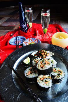 澪と楽しむ 秋鮭と小松菜のジンジャーソテー入りキンパ (キムパプ) #韓国料理|レシピブログ