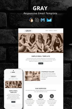 GRAY - Responsive Email Newsletter Template Email Newsletter Design, Email Newsletters, Html Email Templates, Newsletter Templates, Email Marketing Design, Digital Marketing, Marketing Ideas, Mail Chimp Templates, Responsive Email
