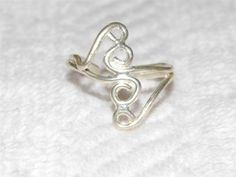 Sterling Silver Toe Ring with Four Wire Spirals CA13