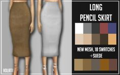 Sims 4 CC's - The Best: LONG PENCIL SKIRT by Volatile Sims
