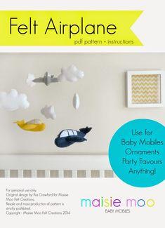 PDF Pattern, Felt Airplane & Clouds, Baby Mobile, Garland, Party Favours, Tutorial, DIY, modern, Baby Boy, Baby Girl, Unisex, Felt Baby Mobile, Aeroplane, Aviation, Maisie-Moo Handmade Felt Creations