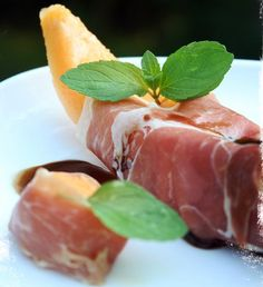 Sweet Cantaloupe,Salty Prosciutto,tang of Mint & Balsamic Vinegar...       fun Italian appetizer