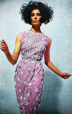Robe de Guy Laroche - Paris-March 1963 vintage fashion style 60s color photo print ad beaded cocktail formal evening dress gown pink purple white model magazine designer