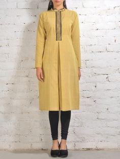 Yellow Malkha Kurta With Black Zari  Placket And Box