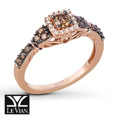 A round Le Vian® Chocolate Diamond is surrounded by brilliant round Vanilla Diamonds® in this delightful ring for her. The 14K Strawberry Gold® band is graced with additional Le Vian Chocolate Diamonds® providing undeniable beauty. The ring has a total diamond weight of 1/2 carat. Le Vian®. Discover the Legend. Diamond Total Carat Weight may range from .45 - .57 carats.