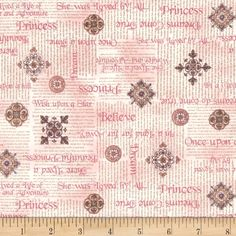 Royal Princess Princess Phrases Blush from @fabricdotcom  Designed by Dan Morris for Quilting Treasures, this cotton print fabric is perfect for quilting, apparel and home decor accents. Colors include pink, grey and white.