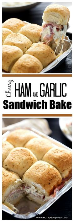 Cheesy Ham and Garlic Sandwich Bake, the perfect weeknight meal. Comes together in minutes. The whole family will love these insane flavors, and you'll love how quick and easy it is to make and clean up! - Eazy Peazy Mealz