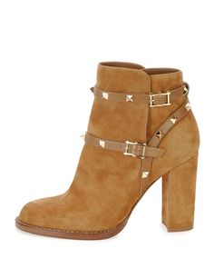 Shop Valentino shoes, boots, and sandals at Neiman Marcus. Update your wardrobe with Valentino's iconic style and signature Rockstud collection. Valentino Rockstud, Valentino Boots, Slip On Boots, Pull On Boots, Shoe Boots, Thick Heel Boots, Chunky High Heels, Tan Shoes, Suede Shoes