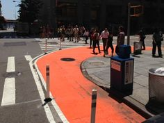 Painted curb extension at Water and Broad.
