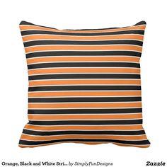 Orange, Black and White Stripes Throw Pillow