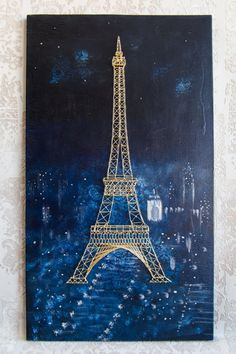 String Art painting the Eiffel Tower Paris by ProfiDecoupage