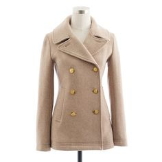 This is EXACTLY what I'm dying to have. Classic peacoat, perfectly fitted, with slash pockets, and made of high-density wool (extra warm). Who has 200 bucks I can borrow?