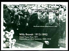 Willy Brandt at Warsaw Ghetto Monument 1970. S/S from Antigua & Barbuda