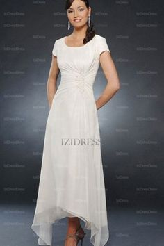 A-Line/Princess Scoop Ankle-length Chiffon Mother of the Bride Dress