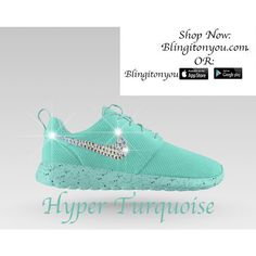2962a55856c15 Nike Women s Roshe One Id Running Shoes Bedazzled and Blinged With 100... (