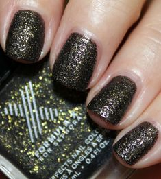 "Extraterrestrial (a ""Celestial"") is a black and gold color shifter which actually looks overall to be a dark olive green glitter. Even though this isn't described as being a textured polish, it does try with a sand-like matte texture. Gold Nails, Matte Nails, My Nails, Black Nail Polish, Black Nails, Urban Decay Eyeliner, Sephora Brands, Nail Place, Formula X"