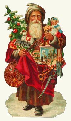 CHRISTMAS SANTA BAG TREE GIFT ORNAMENT COLLAGE TOYS EMBOSSED PAPER SCRAP  GERMAN