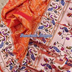 For purchases email me at shagunfrombanaras@gmail.com or what's app me on +919389902966 🙏😊 We ship WORLDWIDE. Banarasi Sarees, Silk Sarees, Saree Border, Indian Weddings, Hand Weaving, App, Pure Products, Orange, Pretty
