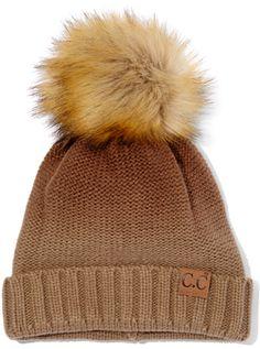 Brown Ombré Faux Fur Pom-Pom Beanie #hat #womens