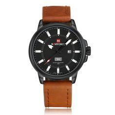 #Zapals - #Zapals Naviforce 9075 Date Day Display Mens Luminous Leather Watch - AdoreWe.com