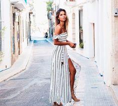 Long striped linen maxi dress #summer