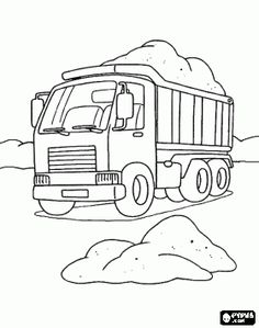 Printable work load truck coloring book page for boy