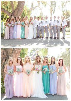 Bride and Chic | Modern Wedding Ideas By Leading UK Wedding Blog // pastel mismatched bridesmaids