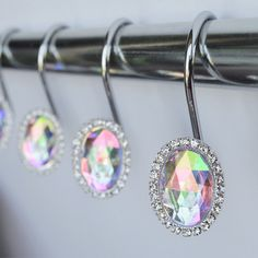 Amazon.com: Shower Curtain Hooks Rings   Oval Blue Cute Decorative Crystal  Gems Bling