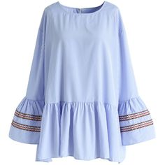 Chicwish Blue Stripe Leisure Top with Bell Sleeves (98.925 COP) ❤ liked on Polyvore featuring tops, shirts, blouses, bohemian shirts, embroidered top, blue striped top, bell sleeve tops and blue stripe shirt