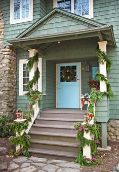 Outdoor Holiday Decorating - Traditional Home® White Oak Front Doors, Magnolia Leaves, Urban Setting, Tudor Style, Front Entrances, Twinkle Lights, Traditional House, Curb Appeal, Outdoor Lighting