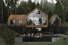 Forest House is a contemporary style house, erected on mountain side. Due to the natural materials such as stone and wood the house is made of, it perfectly fits into the surrounding, becoming its inseparable part. Custom Home Builders, Custom Homes, Contemporary Style Homes, Contemporary Decor, Forest House, Dream House Exterior, Home Fashion, Modern House Design, Exterior Design